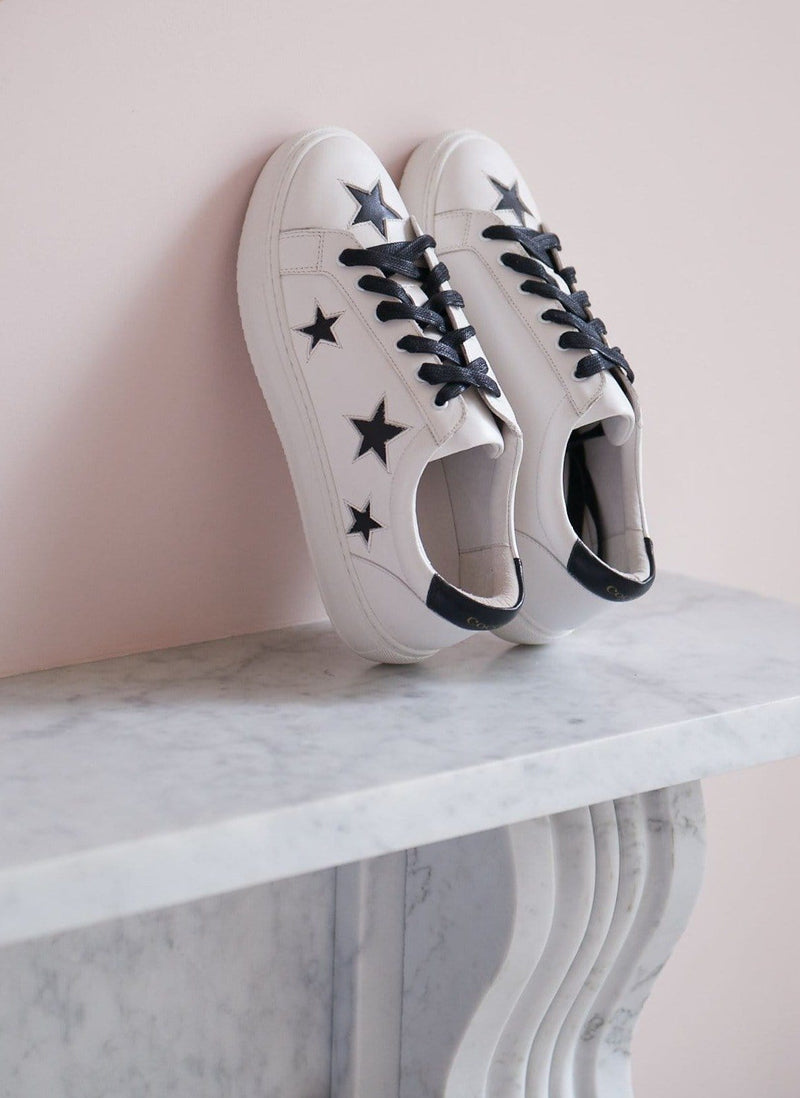 Stylish fashion trainers | Comfortable sneakers | white leather trainers with stars