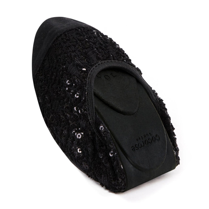 Cocorose London The Royal Ballet Tatiana Black Sequinned Foldable Ballet Flats
