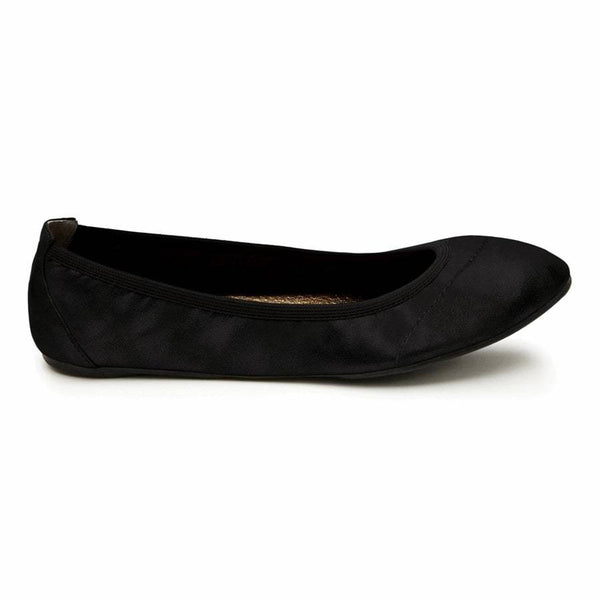 Black fold up designer leather women's shoe