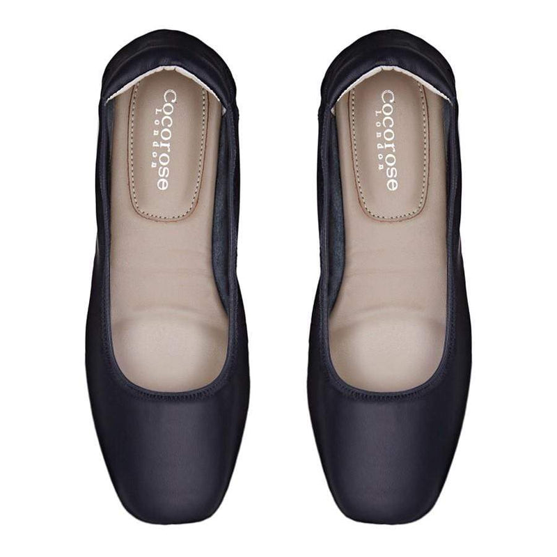 Barnes - Navy Leather Ballet Flats