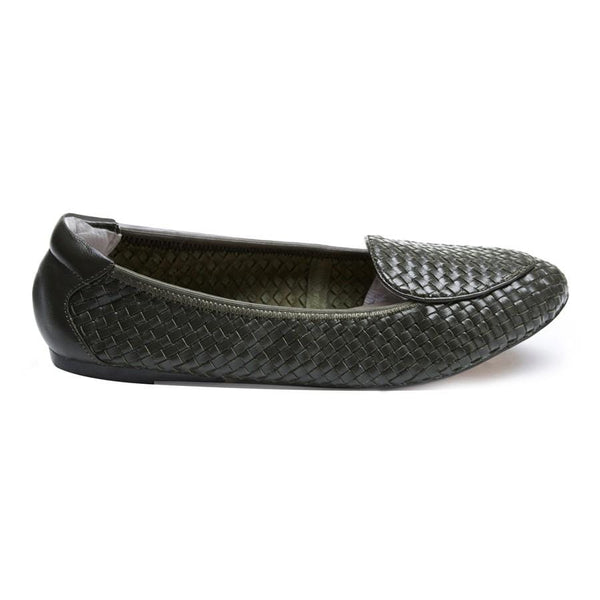 Clapham - Dark Olive Woven Leather Loafers