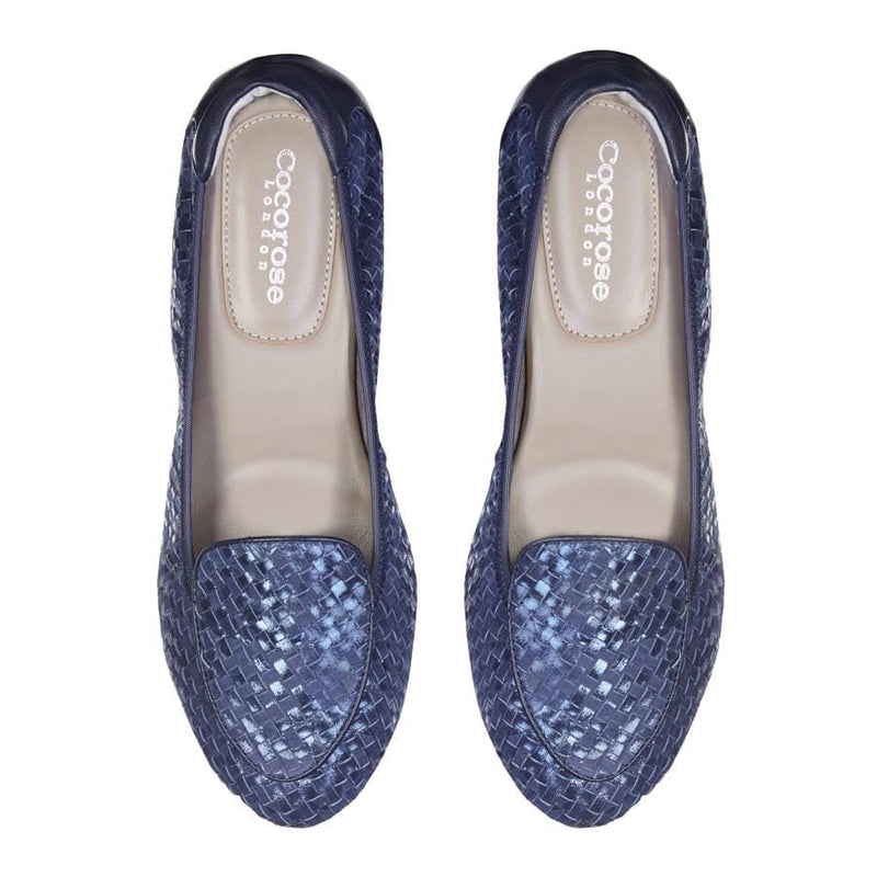 Clapham - Metallic Blue Woven Leather Loafers
