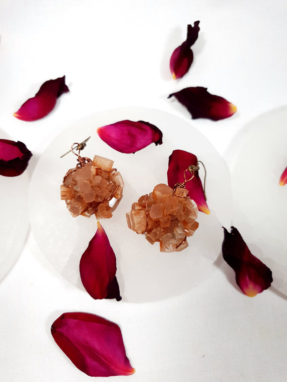 Aragonite Star cluster earrings