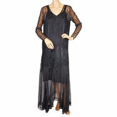 Vintage-1920s-Chantilly-Lace-Silk-Chiffon-Evening-Gown