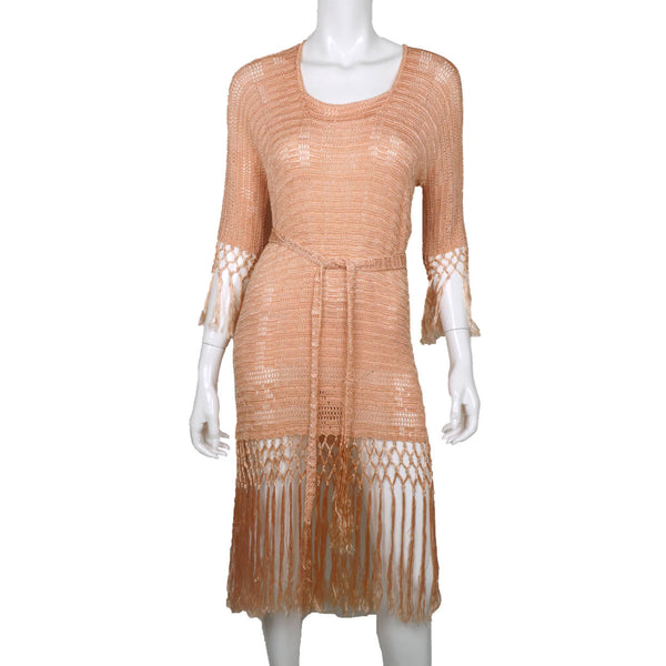 Vintage 1920s Silk Crochet Lace Knit Dress Pink Fringed Flapper Style Size M - Poppy's Vintage Clothing