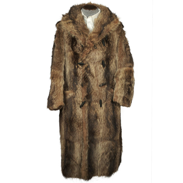 Vintage 1920s Mens Raccoon Fur Coat Ivy League Football Fan Size L - Poppy's Vintage Clothing
