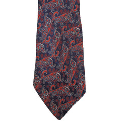 Vintage 1920s Tie Authentic 20s Paisley Pattern Necktie Blue Cherry Red White
