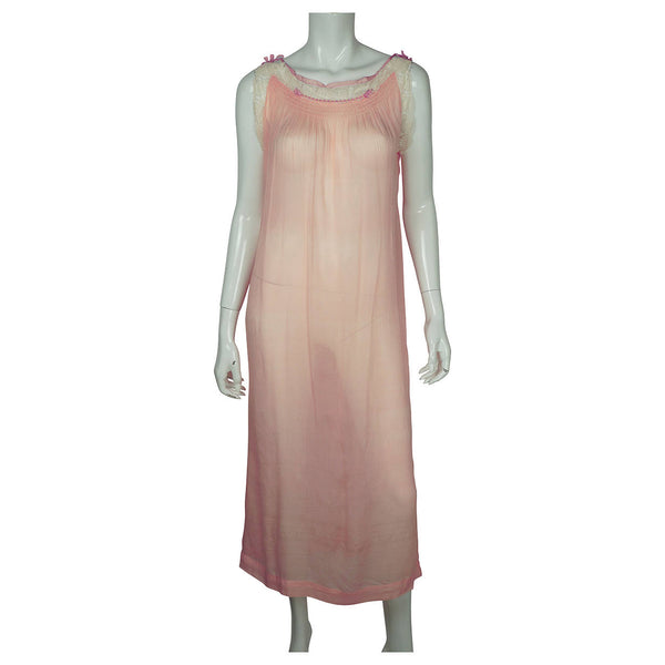 Vintage 1920s Pink Silk Chiffon Nightie with Lace Trim Nightgown - Poppy's Vintage Clothing