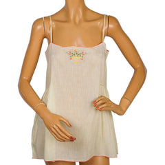 Vintage 1920s Slip Yellow Cotton Flapper Chemise Camisole Size M - Poppy's Vintage Clothing