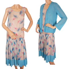Vintage 1920s Art Deco Silk Chiffon Dress - Floral Print -  Size S