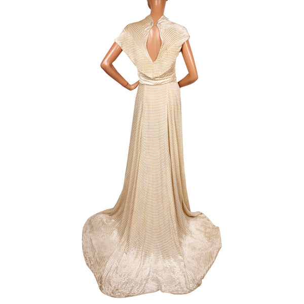 Vintage 1930s Panne Velvet Dress - Off White Striped Devore Velvet - Wedding Gown - S - Poppy's Vintage Clothing