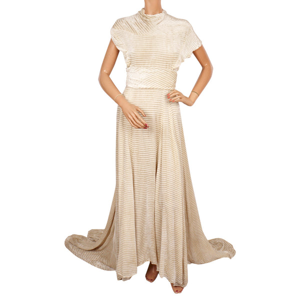 Vintage 1930s Panne Velvet Dress - Off White Striped Devore Velvet - W
