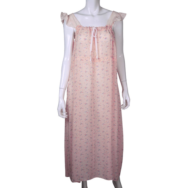 Vintage Nightie 1940s Silky Floral Printed Nightgown w Lace Trim Size M L - Poppy's Vintage Clothing
