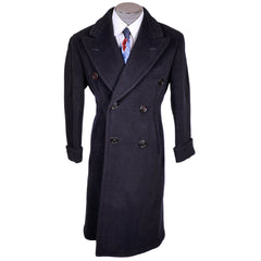 Vintage Early 1940s Mens Wool Overcoat Navy Blue Coat Jos Fuoco Montreal Size M - Poppy's Vintage Clothing