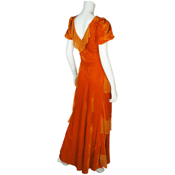 Vintage 1930s Long Dress Orange Velvet Evening Gown Bias Cut with Lace Size M - Poppy's Vintage Clothing