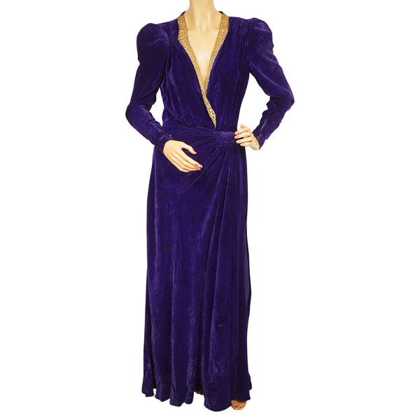 Vintage 1930s Purple Velvet Robe Lounging Dressing Gown Ladies Size Medium - Poppy's Vintage Clothing