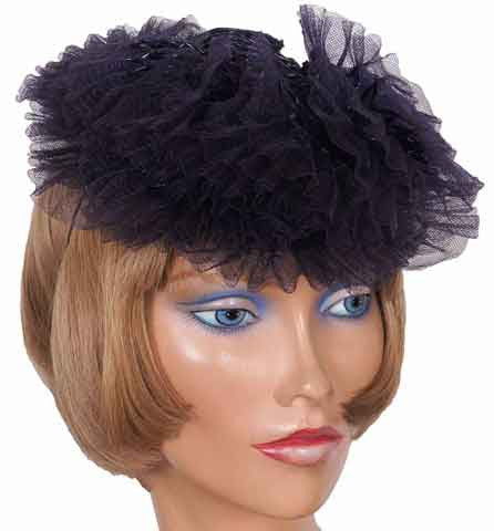1930s Cocktail Hat by Kathleen New York, Dark Blue-Black Lacquered Straw - Poppy's Vintage Clothing
