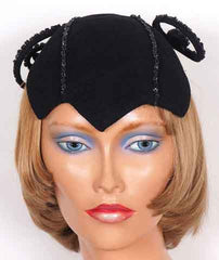 1930s vintage felt cocktail hat - black beaded - front