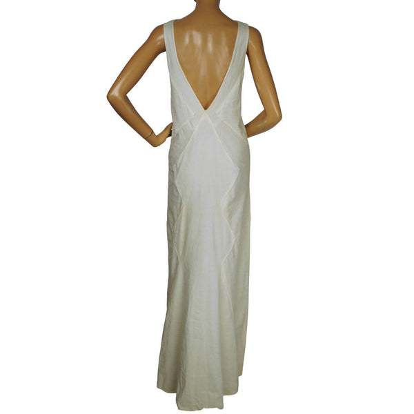 Vintage 1930s Evening Dress White Low Back Wedding Dress Sml - Poppy's Vintage Clothing