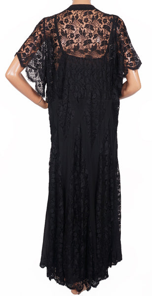 1930s Dress Black Lace Evening Gown