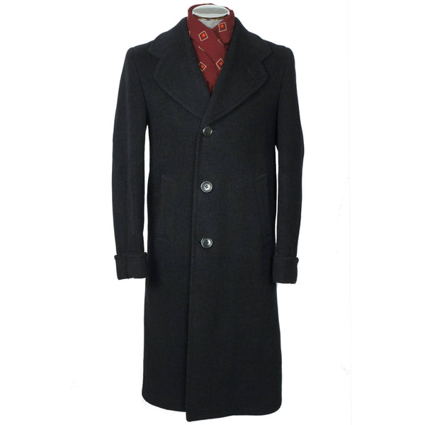 Vintage 1940 Mens Wool Overcoat Black Coat by Supercraft Montreal Size M - Poppy's Vintage Clothing