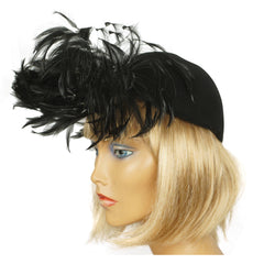 Vintage 1940s Cocktail Hat Black Felt Fascinator - Poppy's Vintage Clothing