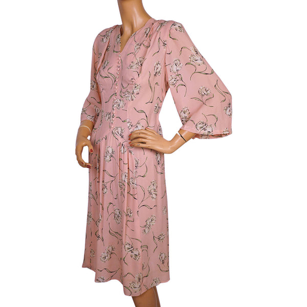 Vintage 1940s Day Dress Floral Printed Pink Silk Chiffon Size M - Poppy's Vintage Clothing