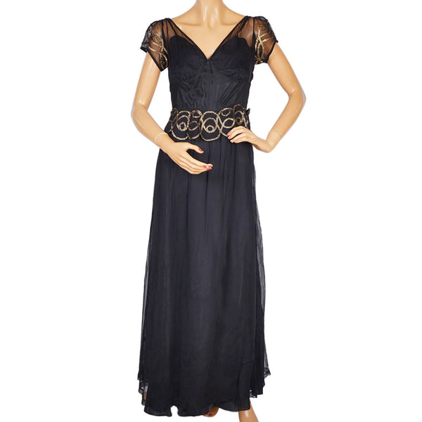 Vintage 1930s Evening Gown Black Tulle with Gold Braid Long Dress Size M - Poppy's Vintage Clothing