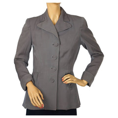 Vintage 1940s Ladies Suit Jacket Grey Gabardine WWII Era Size M - Poppy's Vintage Clothing