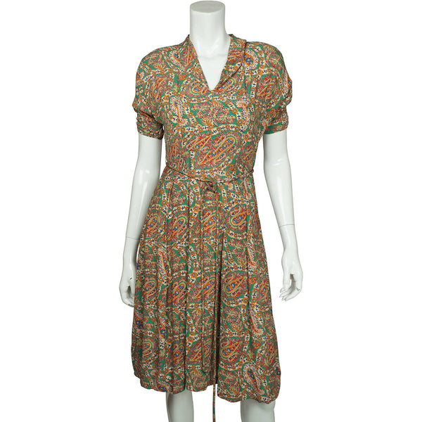 Vintage 1940s Day Dress Paisley Print Silk Crepe Size M - Poppy's Vintage Clothing