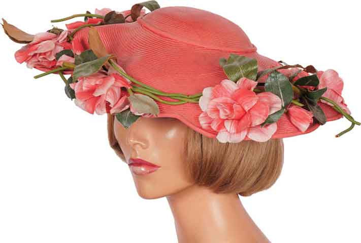 1940s Vintage Wide Brim Hat by Laddie Northridge - Pink Straw 404882eabfd