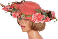 1940s Vintage Wide Brim Hat by Laddie Northridge - Pink Straw - Poppy's Vintage Clothing