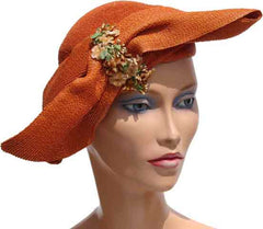 1940s Vintage Hat by Helen Yoffe - Straw, Persimmon - Poppy's Vintage Clothing