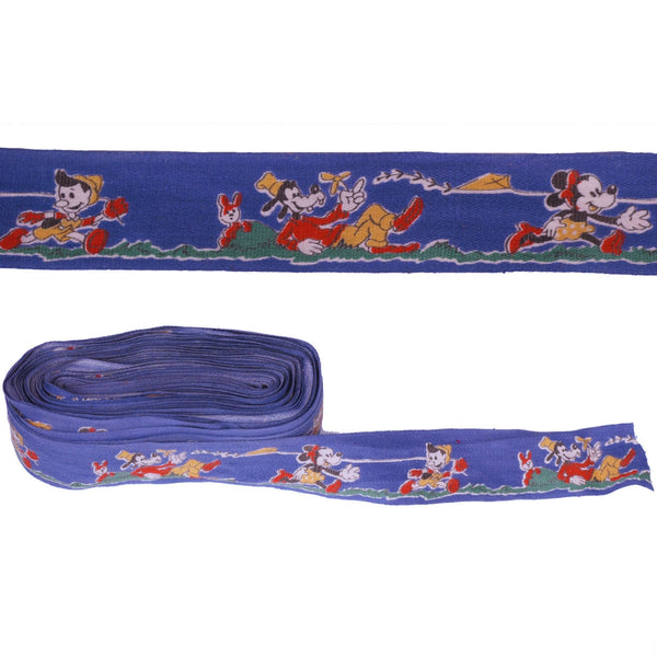 Vintage 1940s Walt Disney Cotton Ribbon Trim Mickey Mouse Goofy Pinocchio Per Yd - Poppy's Vintage Clothing
