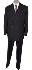1940s Vintage Suit Hand Tailored in Black with Grey Pinstripe Wool - Poppy's Vintage Clothing