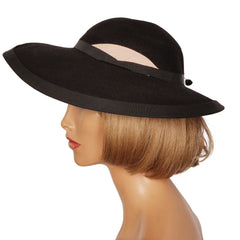 Vintage 1940s Wide Brim Black Felt Hat Ladies Size M - Poppy's Vintage Clothing