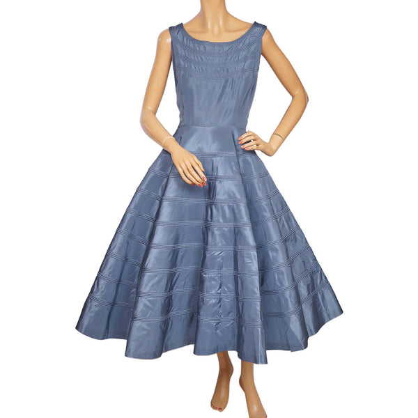 Vintage 50s Dress Blue Taffeta with Circular Detailing M L - Poppy's Vintage Clothing
