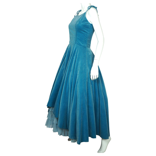 Vintage 1950s Velvet Ball Gown Formal Dress with Tulle Bottom Size M - Poppy's Vintage Clothing