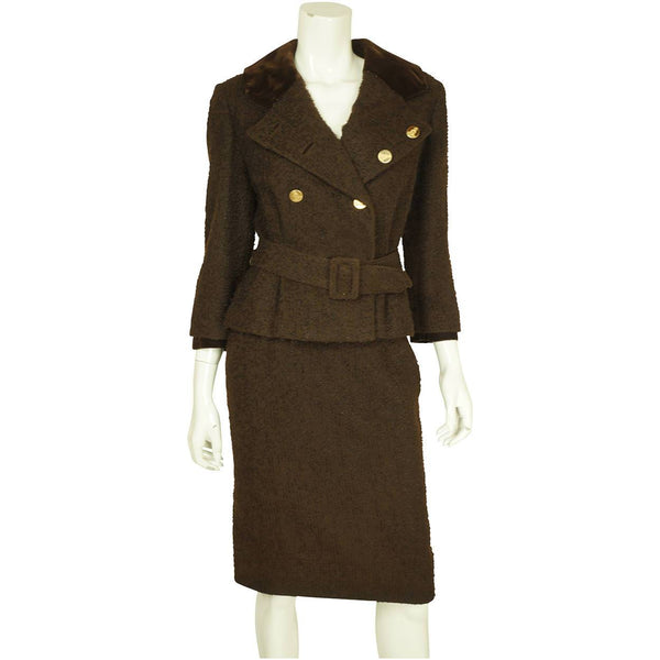 Vintage 1950s Skirt Suit Brown Boucle Wool Hand Tailored Size S M - Poppy's Vintage Clothing