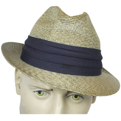 Vintage 1950s Mens Fedora Straw Hat Buckley Montreal Size M 7 1/8 - Poppy's Vintage Clothing