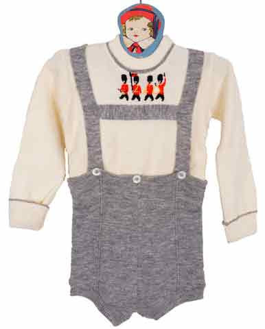 1950s Childs Romper English Grey and White Wool w/ Beefeater Pattern - Poppy's Vintage Clothing