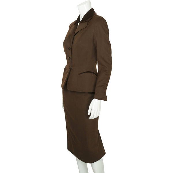 Vintage 1950s Skirt Suit Brown Wool Meme Dysthe Montreal Designer Morgans Sz S M - Poppy's Vintage Clothing