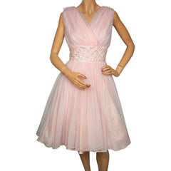 Vintage 1950s Pink Nylon Crinoline Dress Size Medium - Poppy's Vintage Clothing