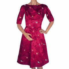 "Vintage 1960s Dress Magenta Red Silk Asian Fans Title Original Size S 23"" Waist - Poppy's Vintage Clothing"