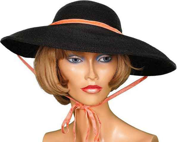 1950s Wide Brim Hat by Simpsons - Black Straw - Poppy's Vintage Clothing