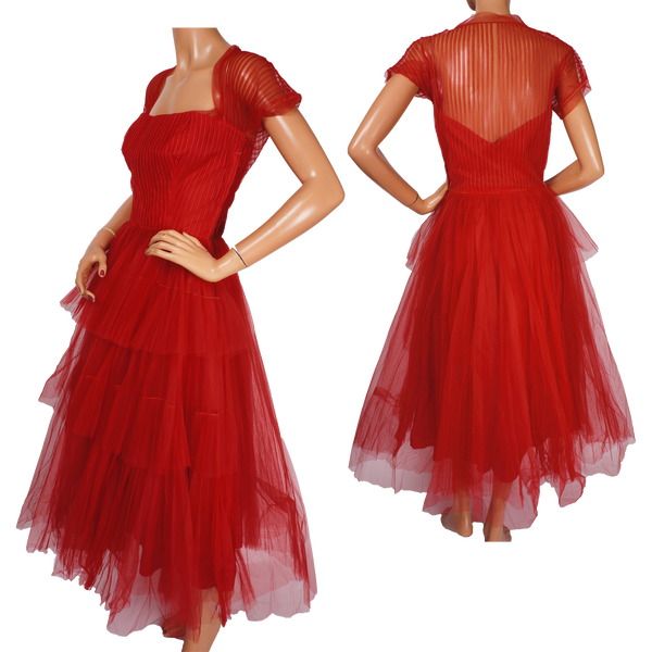 Vintage 1950s Red Tulle Party Dress by Rappi for Saks Fifth Avenue - Poppy's Vintage Clothing
