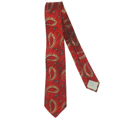 Vintage 1960s Christian Dior Paris Red Silk Paisley Tie Skinny Silk Necktie - Poppy's Vintage Clothing