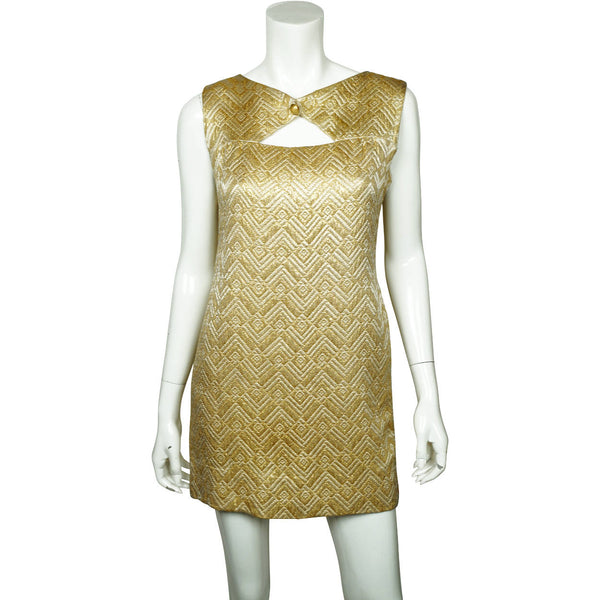 Vintage 1960s Mini Dress Gold Lamé Mod Go Go Style Size M - Poppy's Vintage Clothing
