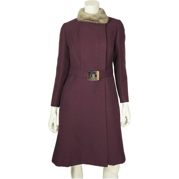 Vintage 1960s Mod Purple Wool Coat by Joshar Montreal Ladies Size S - Poppy's Vintage Clothing