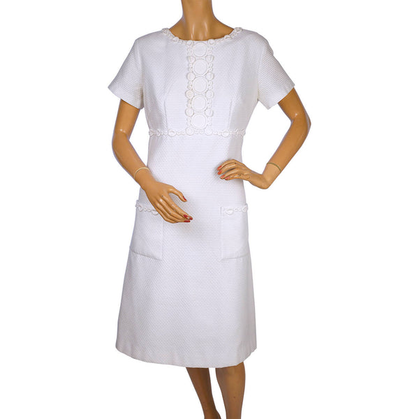 Vintage 1960s The Lilly Pulitzer Dress White Cotton Pique Shift Size M - Poppy's Vintage Clothing